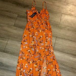 NWT TIMING WOMENS FLORAL SLIT MAXI DRESS